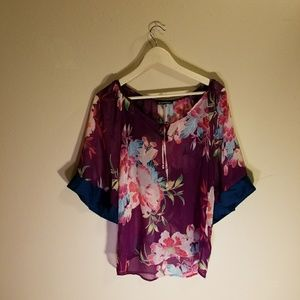 Express polyester flower blouse